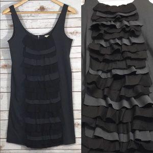 J. Crew Sleeveless Black and Gray Dress w/ Ruffles